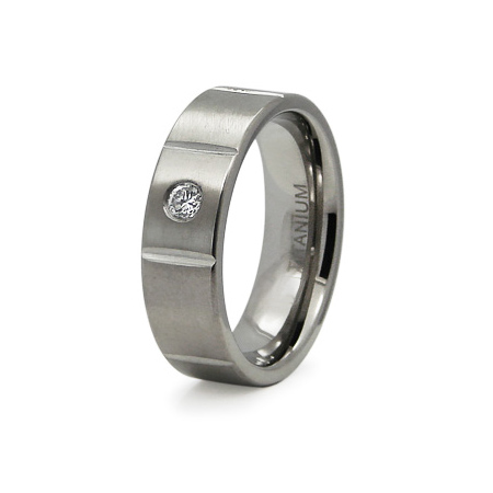 Titanium 7mm Ring with Panels and CZ Accent