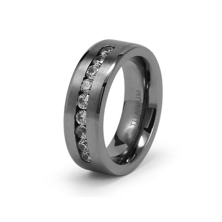 Titanium 8mm Satin Finish Ring with CZs