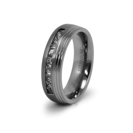 Titanium 7mm Ring with CZs and Grooves