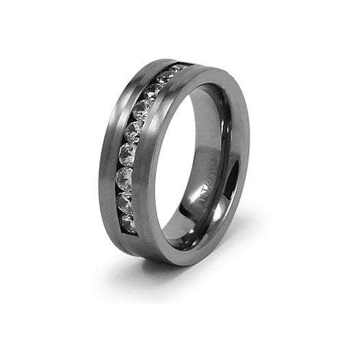Titanium 7.5mm Satin Flat Ring with CZs