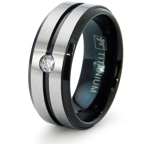 Black Plated Titanium 8mm Wedding Band with CZ