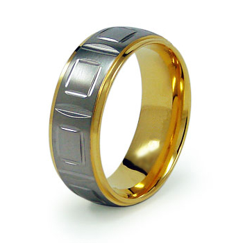 Gold-Plated 8mm Titanium Ring with Panels