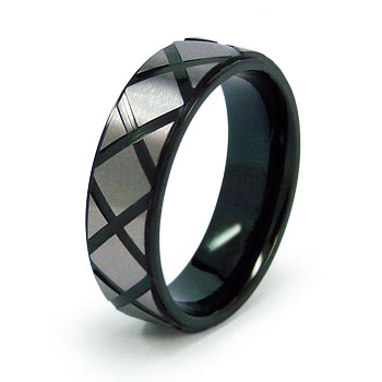 Black Plated Titanium 7mm Ring with Criss Cross Design