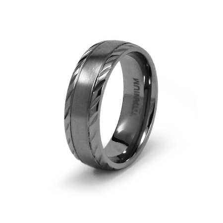 Titanium 7mm Ring with Patterned Edges