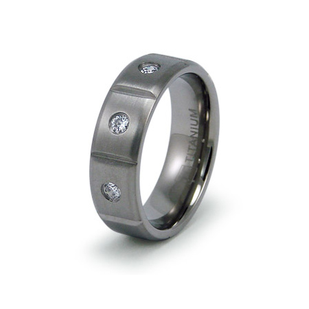 Titanium 7mm Ring with CZs and Panels