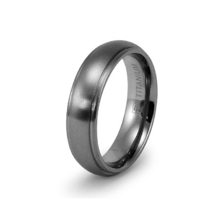 6mm Brushed Titanium Ring with Ridged Edges