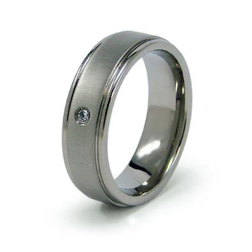 Titanium 7mm Ring with CZ Accent and Ridged Edges