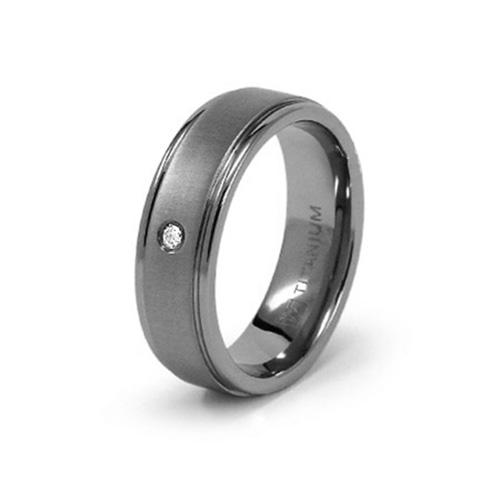 Titanium 7mm Ring with .03 ct Diamond Accent