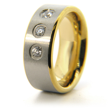 8mm Titanium 18k Gold-Plated Band with CZs