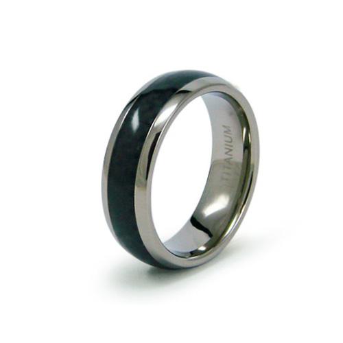 7mm Titanium Ring with Carbon Fiber Inlay