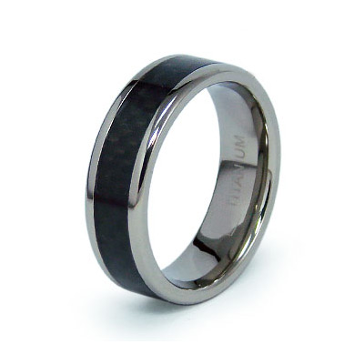 Titanium 7mm Ring with Black Carbon Fiber Inlay