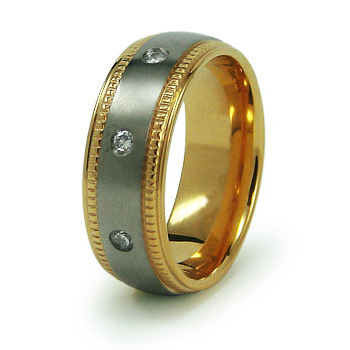 Gold-Plated 8mm Titanium Ring with CZs