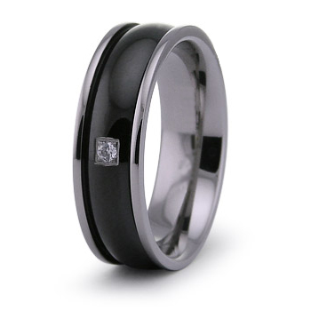 7mm Black Plated Titanium Ring with CZ
