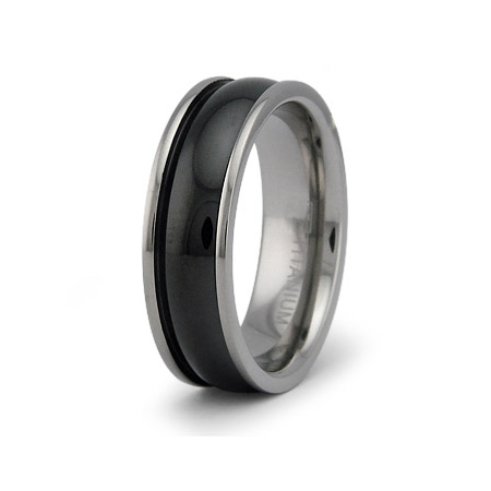 7mm Black PVD Titanium Ring