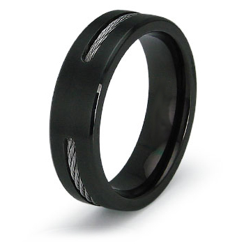 Black Plated Titanium 6.5mm Ring with Cable Inlay