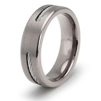 Titanium 6.5mm Ring with Steel Cable Inlay