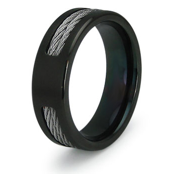 Black Plated 7mm Titanium Ring with Cable Inlays