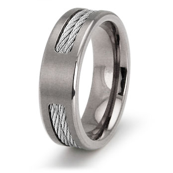 Titanium 7mm Ring with Cable Inlays