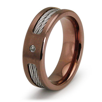Rose-plated Titanium 7mm Ring with Cable Inlays