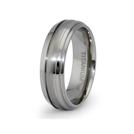Titanium 7mm Ring with Step Down Edges