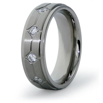 Titanium 7mm Ring with CZs and Angled Panels