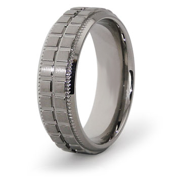 Titanium 7mm Ring with Grooves and Square Panels