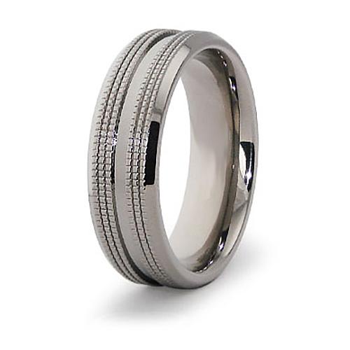 7mm Titanium Ring with Treads