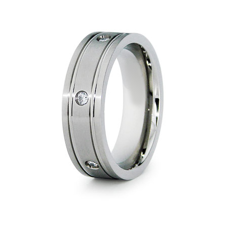 Titanium 7mm Grooved Ring with CZs