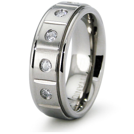 7mm Titanium Grooved Band with CZs