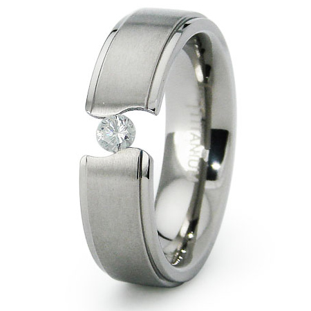 Titanium 6mm Tension Set Band with CZ