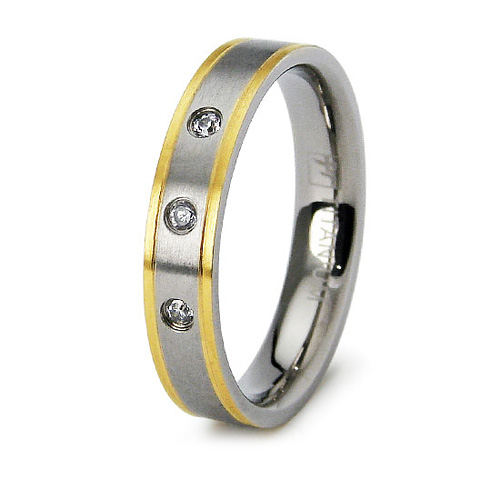 Gold-Plated Titanium 4mm Band with 3 CZs