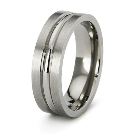 Titanium 7mm Ring with Ribbed Center