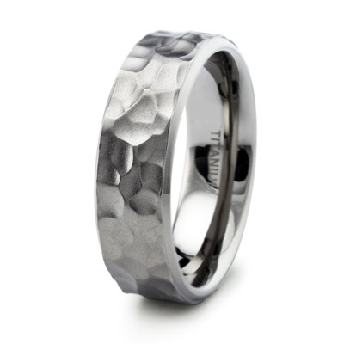 Titanium 8mm Hammered Ring