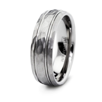 Titanium 8mm Hammered Ring with Grooves
