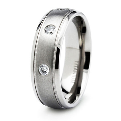 Titanium 7mm Ring with 3 Cubic Zirconias