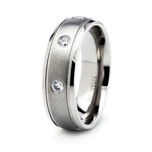 Titanium 7mm Ring with 3 Cubic Zirconias