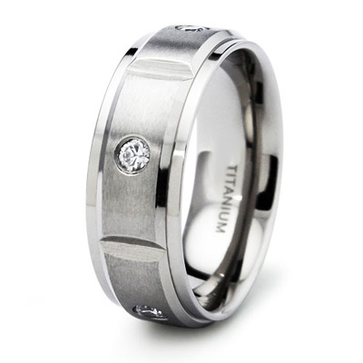 Titanium 8mm Ring with Five CZs