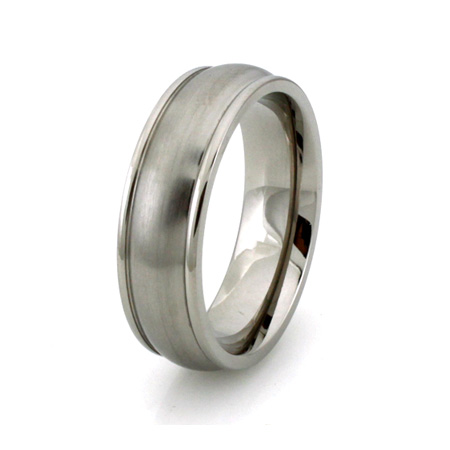 Titanium 7mm Ring with Grooved Edges