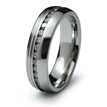 Stainless Steel Eternity 6.5mm Ring with Cubic Ziconia