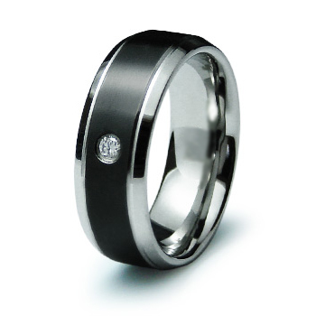 Black 8mm Steel Ring with Cubic Ziconia