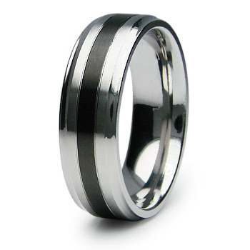 Stainless Steel 7mm Ring with Black Stripe