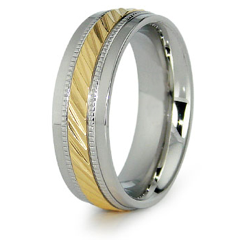 8mm Steel Ring with Gold Plating