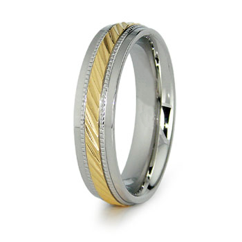 Stainless Steel 6mm Ring with Gold Plating