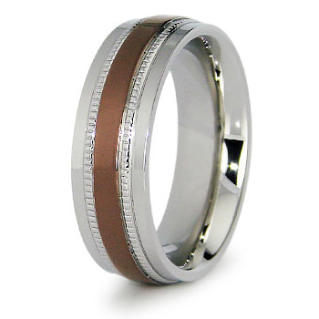 Stainless Steel 7.5mm Ring with Rose Gold Plating