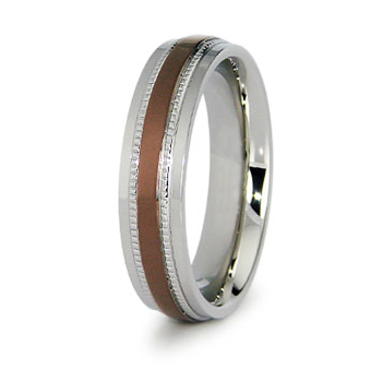 Stainless Steel 6mm Ring with Rose Gold Plating