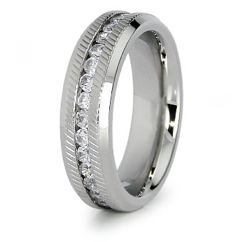 Ladies' Eternity 6mm Steel Ring with Cubic Ziconia