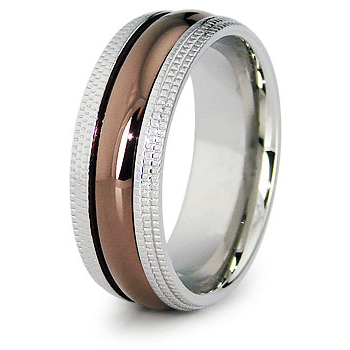 Stainless Steel 8mm Ring with Rose Gold Plating