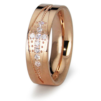 Rose Gold-Plated Stainless Steel 5mm Ring with CZ Cross