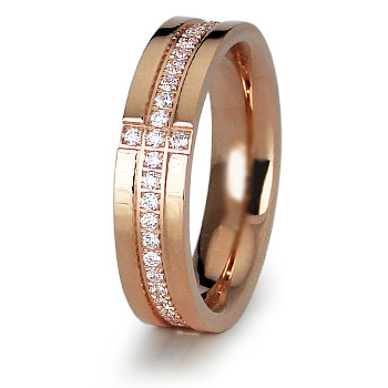 Rose Gold-Plated Stainless Steel 5mm Ring with Cross