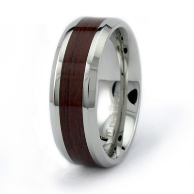 Stainless Steel 8mm Ring with Wood Inlay